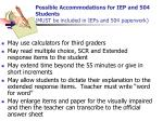 possible accommodations for iep and 504 students must be included in ieps and 504 paperwork