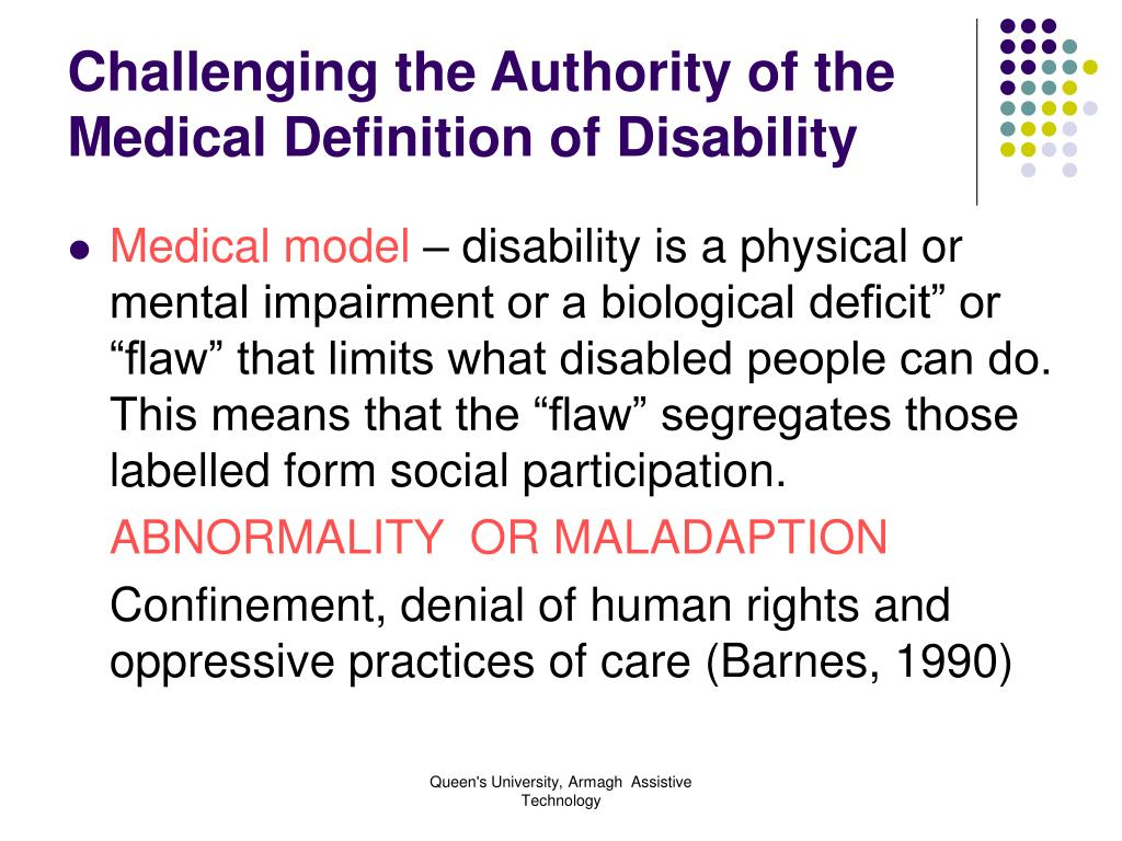 Challenging the Authority of the Medical Definition of Disability