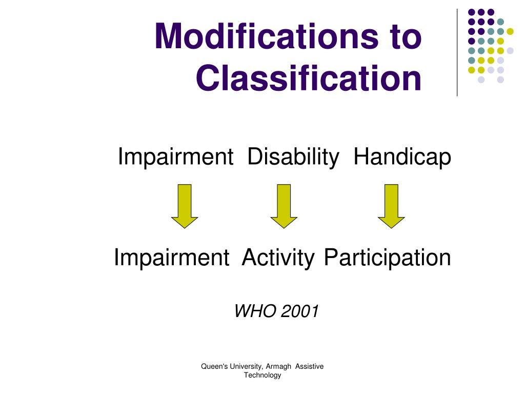 Modifications to Classification