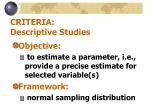 criteria descriptive studies