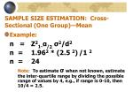 sample size estimation cross sectional one group mean14