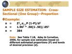 sample size estimation cross sectional one group proportion12