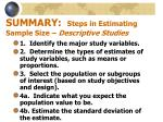 summary steps in estimating sample size descriptive studies