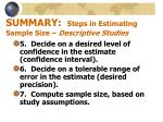 summary steps in estimating sample size descriptive studies20