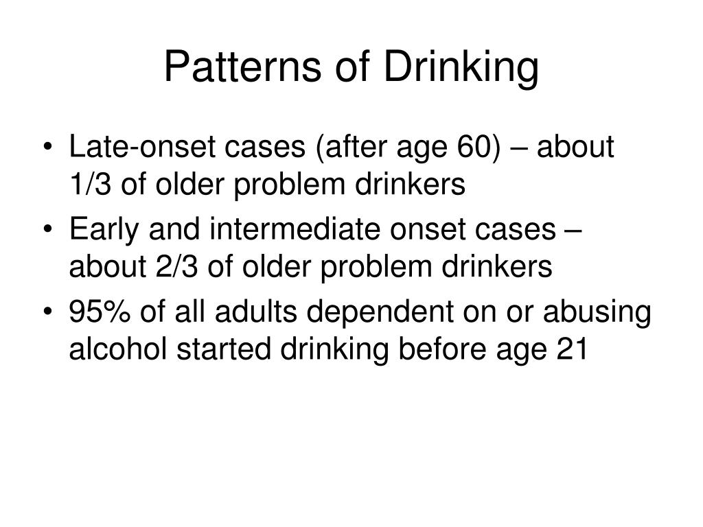 Patterns of Drinking