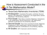 how is assessment conducted in the 3 tier mathematics model