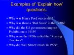 examples of explain how questions