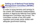 setting up of national food safety management committee nfsmc