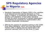 sps regulatory agencies in nigeria cont