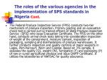 the roles of the various agencies in the implementation of sps standards in nigeria cont