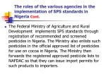 the roles of the various agencies in the implementation of sps standards in nigeria cont10