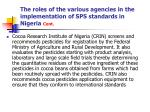 the roles of the various agencies in the implementation of sps standards in nigeria cont11