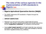 the roles of the various agencies in the implementation of sps standards in nigeria cont12