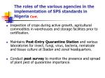the roles of the various agencies in the implementation of sps standards in nigeria cont13