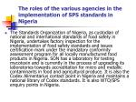 the roles of the various agencies in the implementation of sps standards in nigeria9