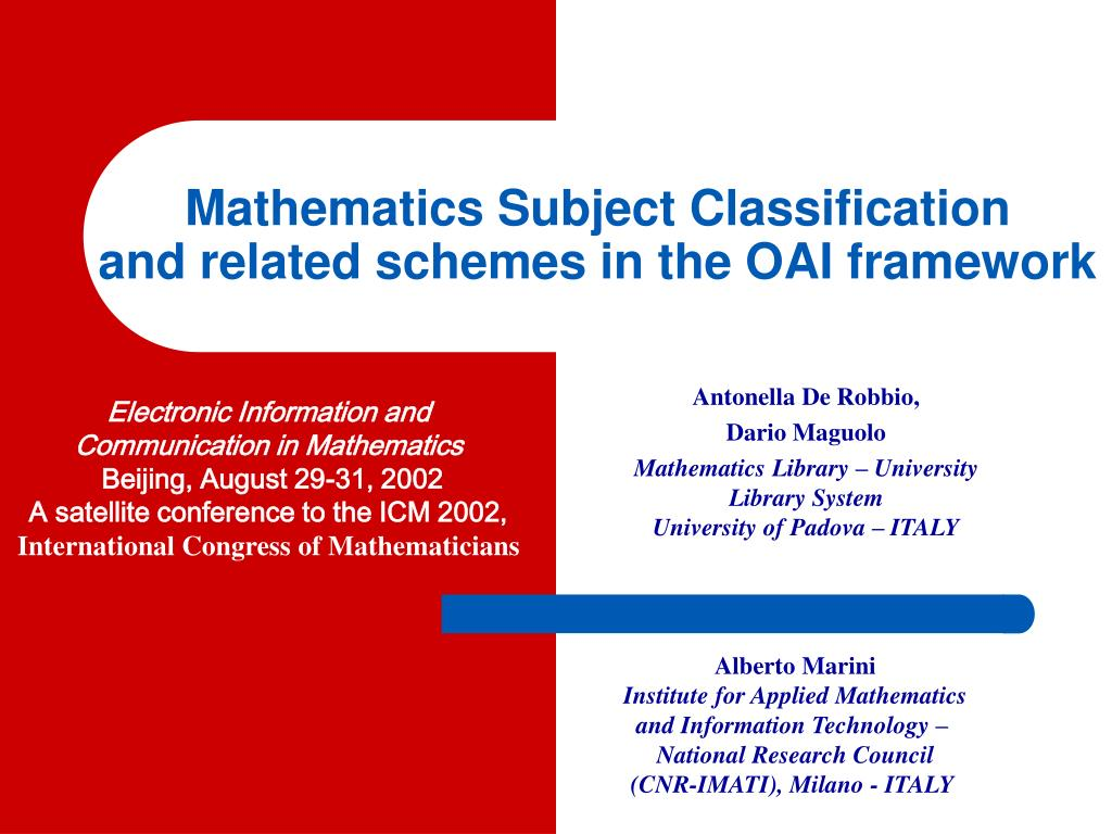 mathematics subject classification and related schemes in the oai framework l.