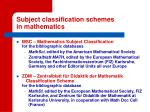 subject classification schemes in mathematics