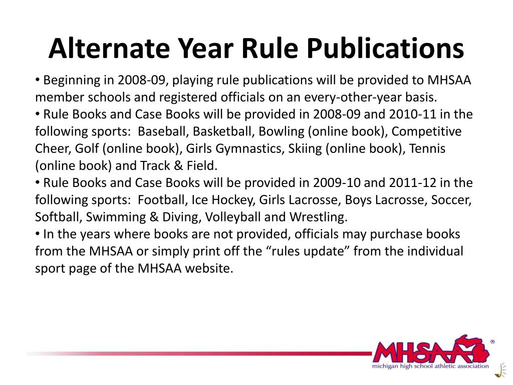 Alternate Year Rule Publications