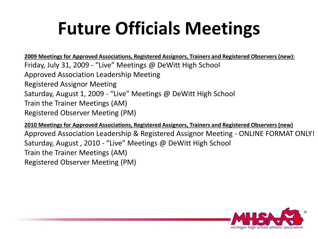 Future Officials Meetings