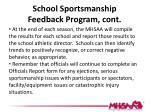 school sportsmanship feedback program cont