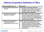 defense acquisition definition of trls