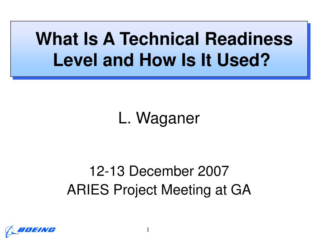 what is a technical readiness level and how is it used l.