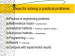 steps for solving a practical problems