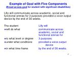 example of goal with five components broad access goal for student with significant disabilities