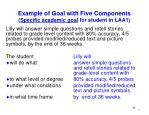 example of goal with five components specific academic goal for student in laa1