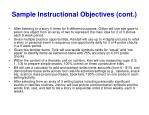 sample instructional objectives cont