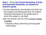 step 1 know the content standards gles and extended standards as needed for student s grade