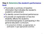 step 3 determine the student s performance level