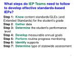 what steps do iep teams need to follow to develop effective standards based ieps