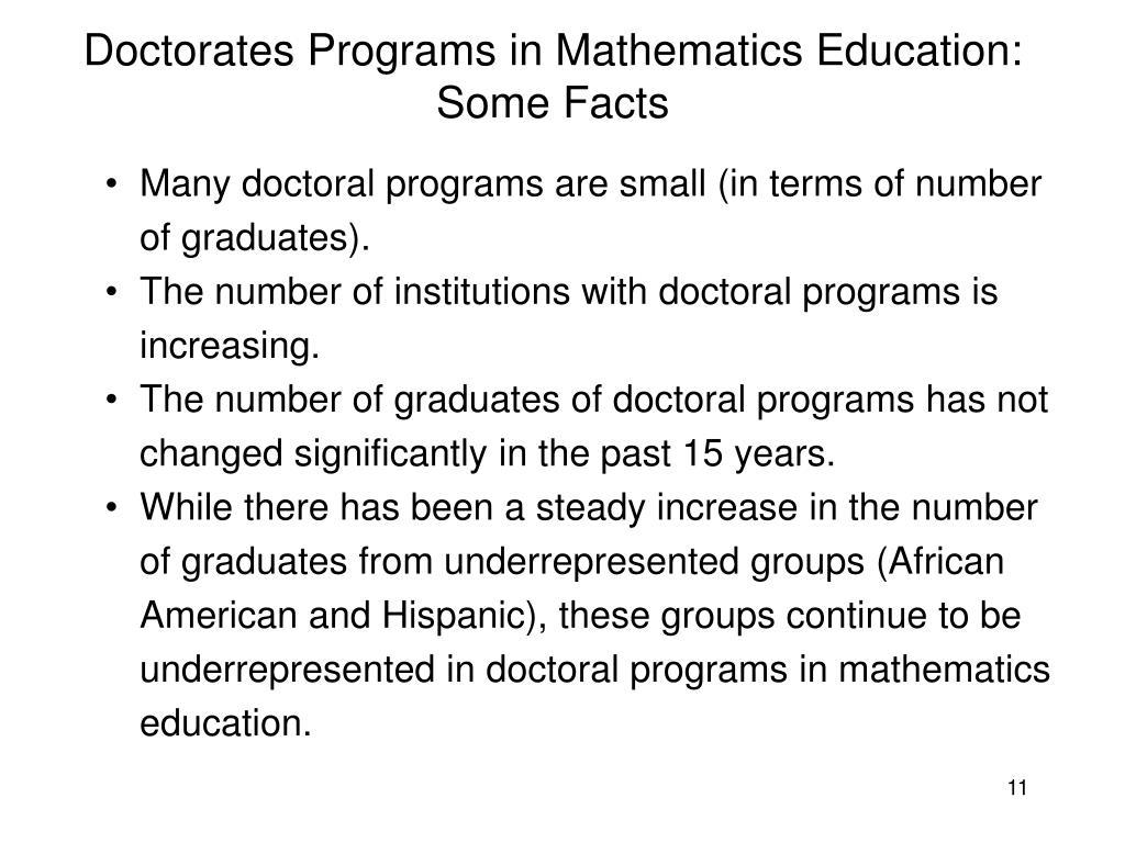 Doctorates Programs in Mathematics Education: