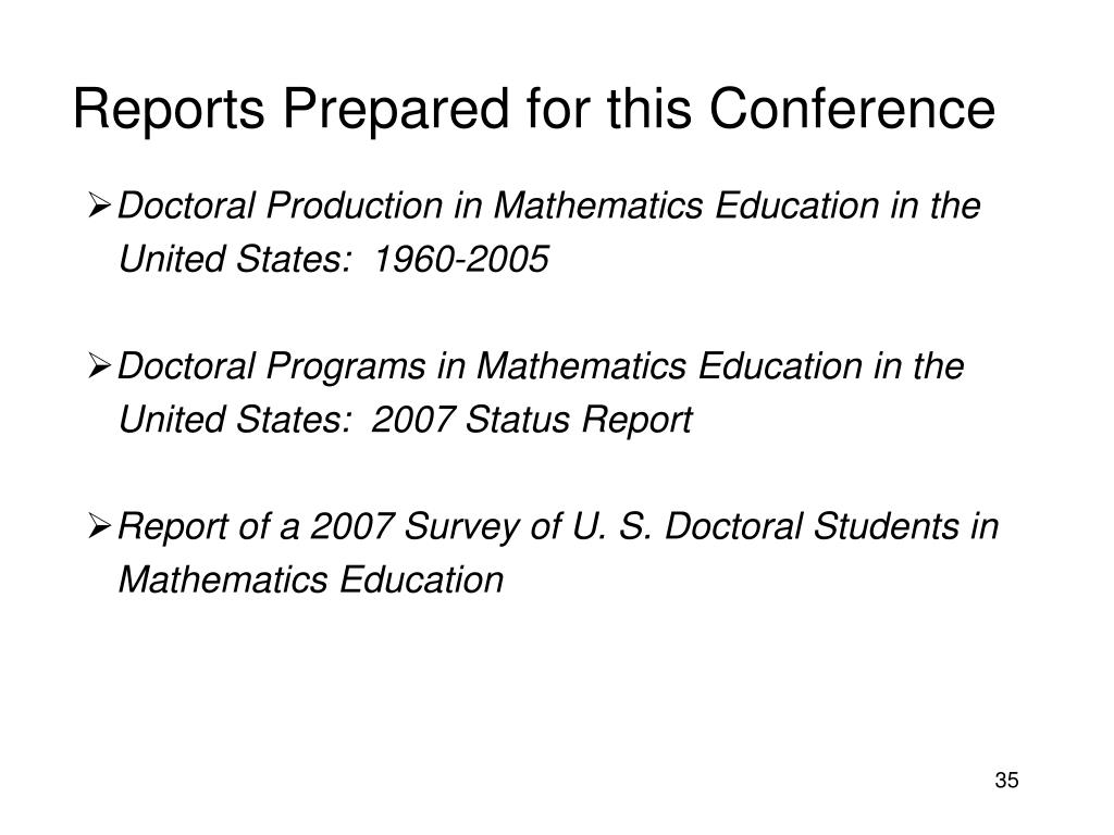 Reports Prepared for this Conference