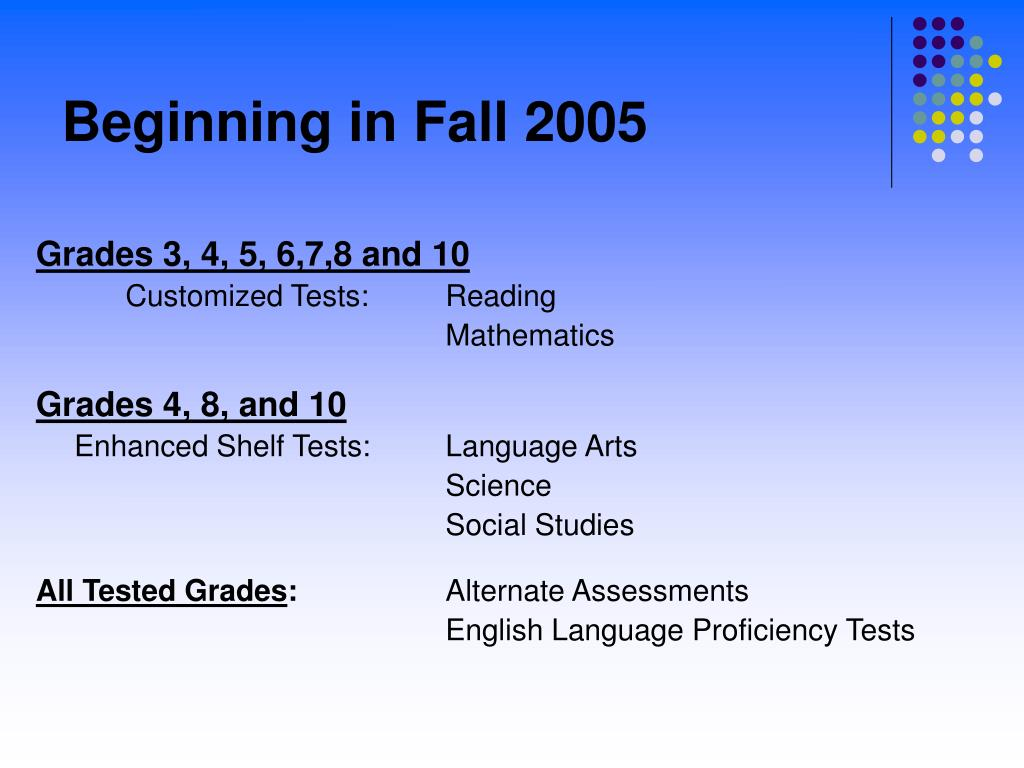 Beginning in Fall 2005