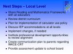 next steps local level