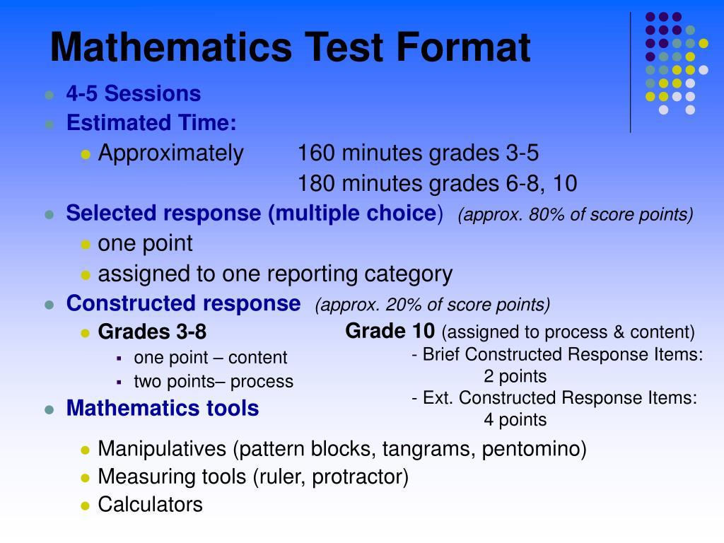 Mathematics Test Format