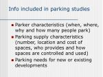 info included in parking studies