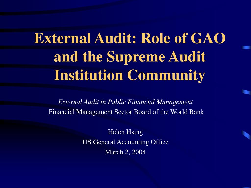 external audit role of gao and the supreme audit institution community l.