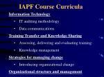 iapf course curricula