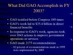 what did gao accomplish in fy 2003