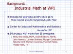 background industrial math at wpi