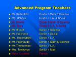 advanced program teachers