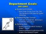 department goals 2001 2002