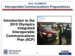 2010 olympics interoperable communications preparedness17