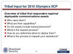 tribal input for 2010 olympics iicp35
