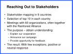 reaching out to stakeholders