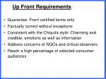 up front requirements