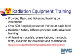 radiation equipment training